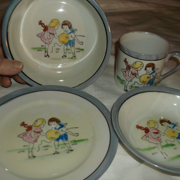vintage 4 pc. luster ware china childs dinner set